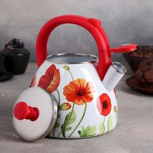 Чайник эмалированный со свистком «Чудесница. Маки», 3 л
