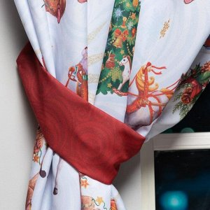 """Комплект штор д/кухни с подхватами """"Новогодняя сказка"""" 145х180см-2 шт.. габардин"""