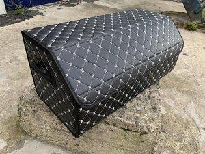 NEW ! Органайзер Большой Эко Кожа в багажник авто Черный с серой строчкой Akuma