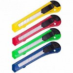 Нож канцелярский средний, лезвие до 18мм, 15,5x3см, ассорти 4 цвета, в пакете
