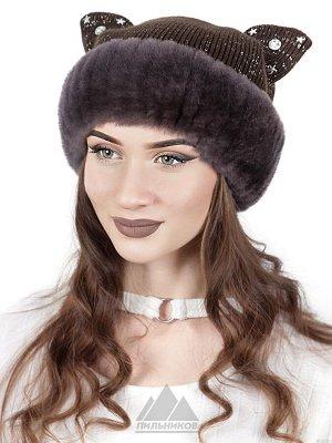 Вязаная шапка с ушками из меха мутонКиска