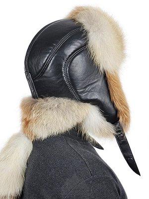 Шапка ушанка мужская из рыжей лисы с хвостомНортон