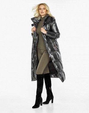 Воздуховик женский с капюшоном зимний цвет темное серебро модель 42830