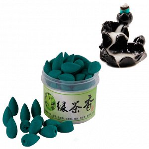 Благовония Пуля стелющийся дым GREEN TEA Свежесть утра Зеленый чай более 45шт
