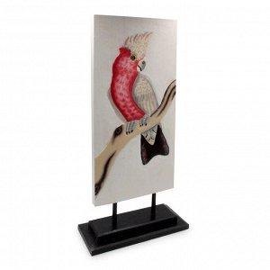 Панно настольное с попугаем - символ богатства и роскоши Дерево Албезия Роспись 50cm-23см