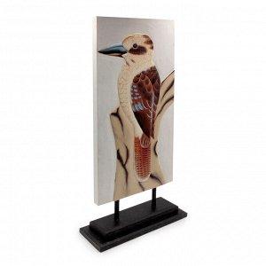 Панно настольное райская птица Бали дерево Албезия роспись 50cm-23см