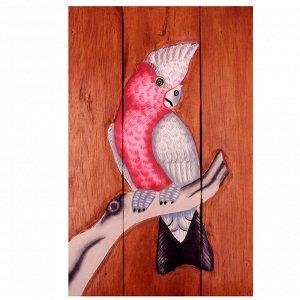 Панно настенное С Попугаем - символ богатства и роскоши Дерево Албезия Роспись 40cm