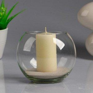 """Ваза-шар стеклянная """"Классика"""" с белой свечой, 12?10 см"""