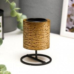 """Подсвечник дерево, металл на 1 свечу """"Столбик"""" 9,2х7х7 см"""