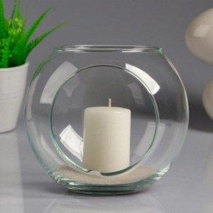 """Ваза-шар стеклянная """"МАТЕ"""" с двумя отверстиями и белой свечой, 14,5?13 см"""