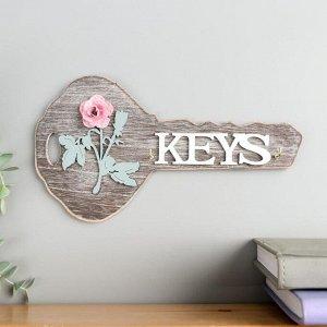 """Крючки декоративные дерево """"Ключик с розой"""" 13х23,5х2,5 см"""