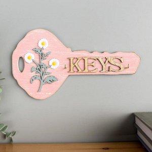 """Крючки декоративные дерево """"Ключик с ромашками"""" 13х23,5х2,5 см"""