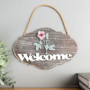 """Крючки декоративные дерево """"Розовая роза - Welcome"""" 15х22,5х2,5 см"""