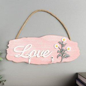 """Крючки декоративные дерево """"Ромашки - Love"""" 11,5х29,5х2,5 см"""