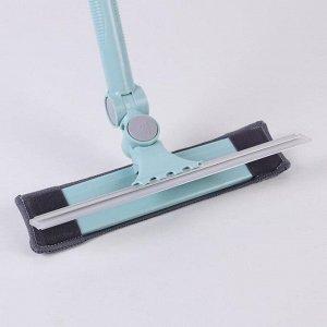 Окномойка с телескопической стальной ручкой и сгоном Доляна, 25?6?88(130) см, поворот насадки в двух плоскостях, микрофибра