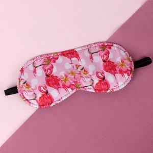Маска для сна «Фламинго» 19,5 ? 8,5 см, резинка одинарная, цвет розовый