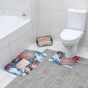 Набор ковриков для ванны и туалета «Ракушки» 2 шт, 79?49, 49?40 см