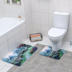 Набор ковриков для ванны и туалета «Домик» 2 шт, 79?49, 49?40 см