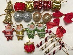 Набор новогодних украшений на елку 24 предмета