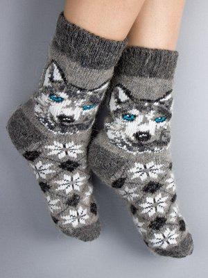 Носки шерстяные женские, собака, ромбики, серый (размер универсальный)