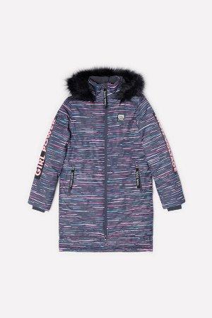 Пальто Цвет: темно-серый, цветные полосы; Утеплитель: с утеплителем; Вид изделия: Изделия из мембраны; Рисунок: темно-серый, цветные полосы; Сезон: Осень-Зима Зимнее пальто для девочки, на подкладке