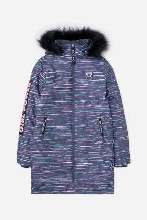 Пальто(Осень-Зима)+girls (темно-серый, цветные полосы)