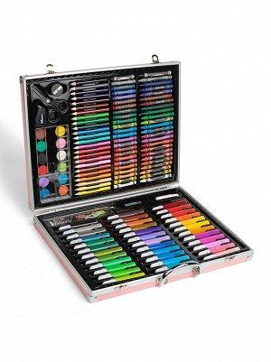 Набор для рисования в чемодане 145 предметов (розовый)