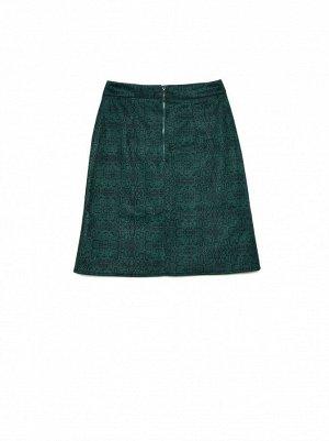 CONTE Замшевая юбка А-силуэта со змеиным принтом ATHENA  19С-875ТСП   green snake