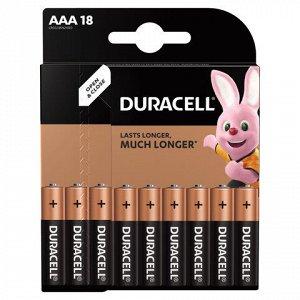 Батарейки КОМПЛЕКТ 18 шт., DURACELL Basic, AAA (LR03, 24А), алкалиновые, мизинчиковые, блистер, 81483686