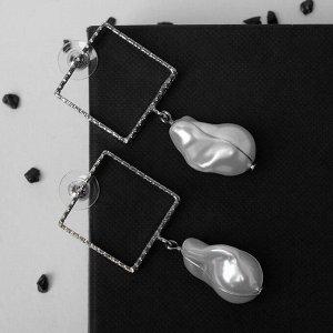 """Серьги с жемчугом """"Квадрат рамка"""" бусина, цвет белый в серебре"""