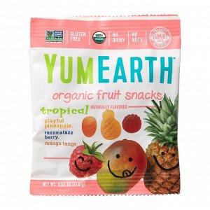 YumEarth, Органические фруктовые снеки, тропические фрукты, 17,6 г (0,62 унции)