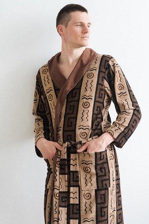Халат мужской из махры Артур коричневый