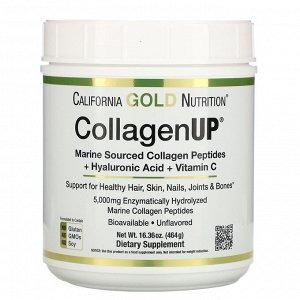 California Gold Nutrition, CollagenUP, морской гидролизованный коллаген, гиалуроновая кислота и витамин C, без вкусовых добавок, 464 г (16,36 унции)