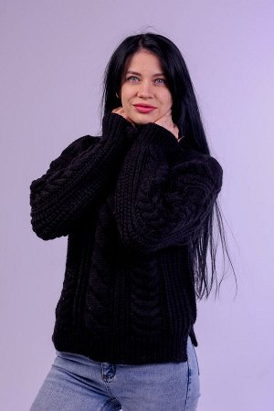 Свитер женский крупной вязки узор косичка. s-024
