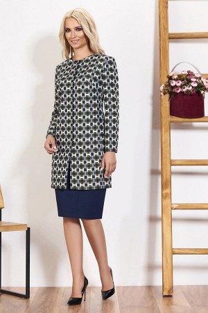 Пальто Пальто Bazalini 3511  Состав ткани: ПЭ-100%;  Рост: 170 см.  - однобортное пальто полуприлегающего силуэта с потайной застежкой, круглым вырезом горловины и бочком - перед с нагрудными вытачка