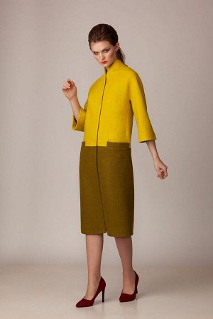 Пальто Пальто Rosheli 741 желтый с оливковым  Состав ткани:Пальто: ПЭ-60%; Шерсть-40%; Подкладка: ПЭ-100%;  Рост: 164 см.  Пальто из мягкой пальтовой ткани на подкладке. Современный силуэт «лет