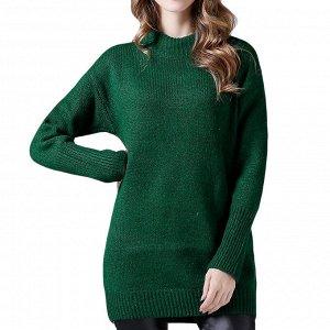 Свитер Уютный и мягкий свитер согреет свою обладательницу. Цвет темно-зеленый Единый размер 42-48