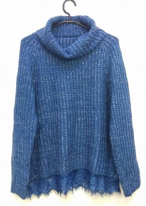 Свитер Уютный и мягкий свитер согреет свою обладательницу. Цвет синий с блестящей нитью Единый размер 42-50, фрисайз