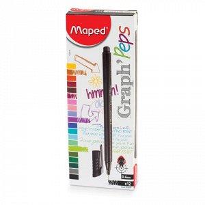 """Ручка капиллярная MAPED (Франция) """"Graph' Peps"""", ЧЕРНАЯ, трехгранная, корпус черный, линия письма 0,4 мм, 749111"""