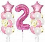 """Набор воздушных шаров с цифрой """"2"""""""