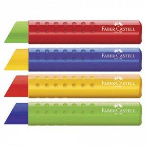 """Ластик большой FABER-CASTELL """"Tri"""", 83х12,6х12,3 мм, цвет ассорти, треугольный, пластиковый держатель ассорти, 182334"""