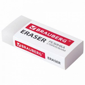 Ластик BRAUBERG EXTRA, 45х17х10 мм, белый, прямоугольный, экологичный ПВХ, картонный держатель, 228076