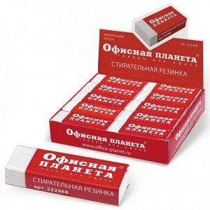 Ластик большой ОФИСНАЯ ПЛАНЕТА, 60х20х11 мм, белый, прямоугольный, картонный держатель, 222468