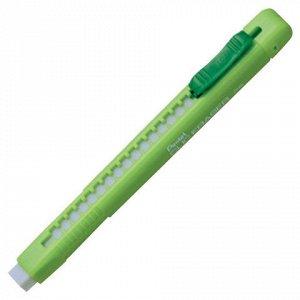 """Ластик выдвижной PENTEL (Япония) """"Clic Eraser"""", 117х12х15 мм, белый, салатовый держатель, ZE80-K"""