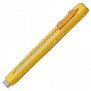 """Ластик выдвижной PENTEL (Япония) """"Clic Eraser"""", 117х12х15 мм, белый, желтый держатель, ZE80-G"""