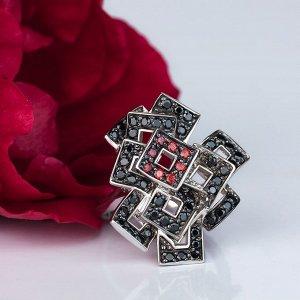 Кольцо Фейерверк (с цветными камнями), Черный и гранатовый