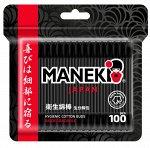 """Палочки ватные гигиен. """"Maneki"""" B&W, с черным бумажным стиком и черным аппликатором, в zip-пакете, 100 шт./упак"""