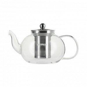 50281 WERNER Чайник заварочный SPESSO стеклянный 1000мл со съемным фильтр-ситом. Материал: жаропрочное боросиликатное стекло, нерж.сталь