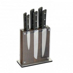 50328 WERNER Набор ножей ALBERO из 6шт. на подставке (нож поварской, нож разделочный, нож сантоку, нож для нарезки хлеба, нож универсальный, нож для овощей). Материал лезвия: сталь 3Cr13. Материал руч