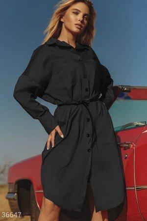 Черное платье-рубашка со свободным кроем